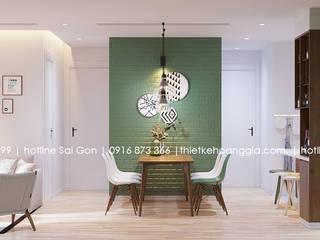 Thiết kế nội thất chung cư 55m cho chị Lan Anh Phòng ăn phong cách Bắc Âu bởi Nội Thất Hoàng Gia Bắc Âu