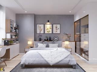 Thiết kế nội thất chung cư 55m cho chị Lan Anh Phòng ngủ phong cách Bắc Âu bởi Nội Thất Hoàng Gia Bắc Âu