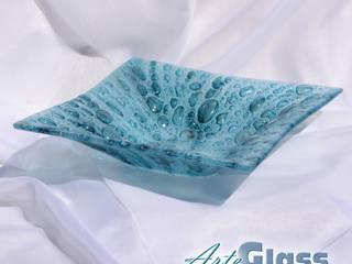 Bowl turquoise 30x30 deep 10 cm:   by ArteGlass