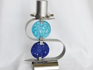 """Candlestick """"S"""" stainless steel + turquoise and blue glass:   by ArteGlass"""