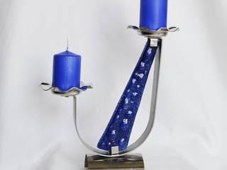 "Candlestick ""U"" stainless steel + blue glass:   by ArteGlass"