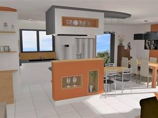 Projet d'aménagement et décoration d'intérieur - Belligné (44): Cuisine intégrée de style  par Atelier Créa' Design