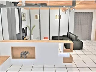Projet d'aménagement et décoration d'intérieur (Mésanger - 44): Salon de style  par Atelier Créa' Design