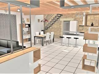 Projet d'aménagement et décoration d'intérieur (Mésanger - 44): Salle à manger de style  par Atelier Créa' Design