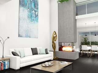 Diseño interior Sala.: Salas de estilo  por CONSTRUYE IDEAS