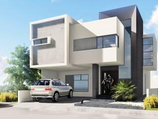 Perspectiva principal.: Casas unifamiliares de estilo  por CONSTRUYE IDEAS