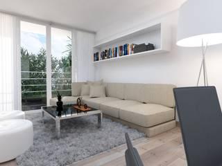 Distribución de Sala: Salas / recibidores de estilo minimalista por Estudio Allan Cornejo Arquitecto