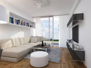 Distribución de Sala Salones minimalistas de Estudio Allan Cornejo Arquitecto Minimalista Derivados de madera Transparente
