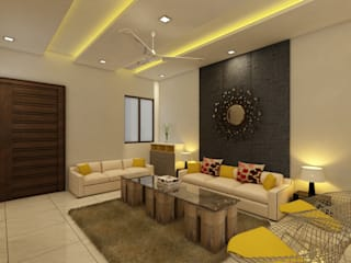 غرفة المعيشة تنفيذ Regalias India Interiors & Infrastructure