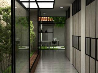 Modern corridor, hallway & stairs by Elizabeth SJ Modern