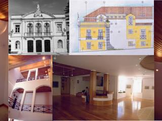 Pedro de Almeida Carvalho, Arquitecto, Lda Classic style corridor, hallway and stairs Stone Beige