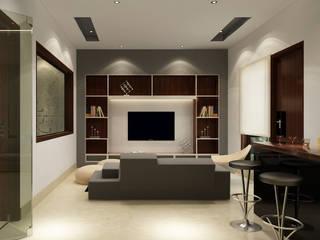 Suneja Residence Interior Design:  Media room by Rhomboid Designs