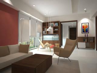 Sodhi Residence:  Living room by Rhomboid Designs