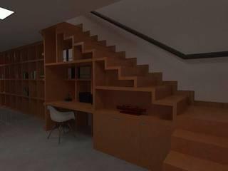 Residência AF: Escadas  por Marcelo Pestana Arquitetura,Moderno