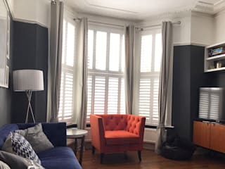 A stylish addition to a stylish home in Balham Plantation Shutters Ltd Living roomAccessories & decoration Kayu White