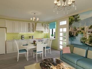Гостиная-столовая с хорошим настроением.: Столовые комнаты в . Автор – Дизайн-студия интерьера и ландшафта 'Деметра',