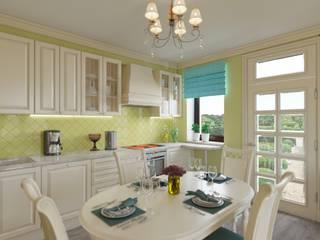 Гостиная-столовая с хорошим настроением.: Кухни в . Автор – Дизайн-студия интерьера и ландшафта 'Деметра',