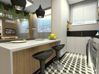 COZINHA: Armários e bancadas de cozinha  por Letícia Saldanha Arquitetura,Moderno