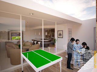 HHRG ARQUITECTOS Minimalist balcony, veranda & terrace