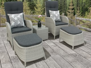 Rattan bistro set with footstools:   by Garden Centre Shopping UK