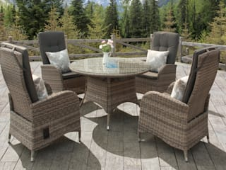 Rattan dining set with reclining chairs:   by Garden Centre Shopping UK