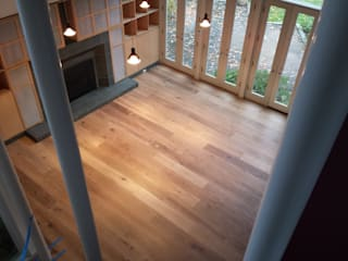"6"" White Oak with radiant heat installation by Shine Star Flooring Classic"
