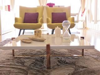 Apartamento em Carcavelos - Sala de estar e jantar: Salas de estar  por Joana Neto | Interiores,Eclético