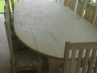 Solid ash oval patio/dining room suite:   by MELLOWOOD Furniture