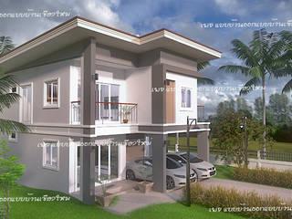 บ้านสองชั้น  #แบบบ้านออกแบบบ้านเชียงใหม่:  บ้านเดี่ยว by แบบบ้านออกแบบบ้านเชียงใหม่