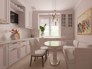 Светлая квартира с зонированием гостиной Кухни в эклектичном стиле от Альбина Романова Эклектичный