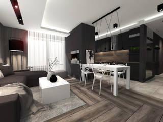 Wnętrza mieszkania w Opolu: styl , w kategorii Salon zaprojektowany przez architekt SZYMON PLESZCZAK - ARCHI PL PRACOWNIA ARCHITEKTURY I WNĘTRZ