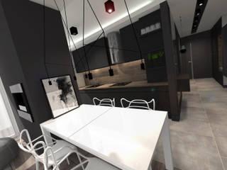 Ruang Makan Modern Oleh architekt SZYMON PLESZCZAK - ARCHI PL PRACOWNIA ARCHITEKTURY I WNĘTRZ Modern