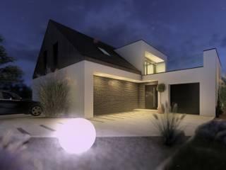 Dom jednorodzinny w okolicy Nysy: styl nowoczesne, w kategorii Domy zaprojektowany przez architekt SZYMON PLESZCZAK - ARCHI PL PRACOWNIA ARCHITEKTURY I WNĘTRZ