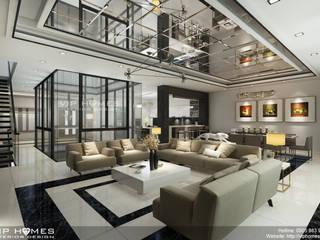 Thiết kế phòng khách biệt thự hiện đại:   by Công ty TNHH Không Gian Mo