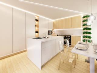 MIA arquitetos Cocinas de estilo minimalista Tablero DM Acabado en madera