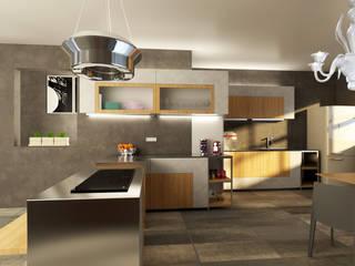 Progettazione piano terra villetta schiera Colombare di Sirmione (BS) Cucina moderna di 2mgdesignsolution Moderno