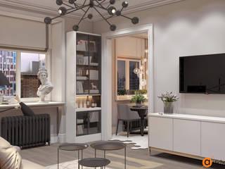 Совмещенная гостиная-кухня в современном стиле Гостиная в стиле минимализм от Artichok Design Минимализм