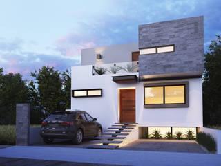 Fachada Principal: Casas unifamiliares de estilo  por Ambás Arquitectos