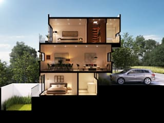 Corte Perspectivado: Casas unifamiliares de estilo  por Ambás Arquitectos