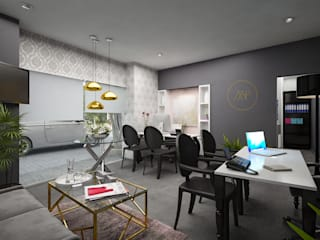 Showroom Melina Pèrez Confección de Eventos Monterrey: Oficinas y tiendas de estilo  por Citlali Villarreal Interiorismo & Diseño