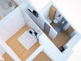 camera da letto con cabina armadio e bagno passante: Camera da letto in stile  di Simone Fratta Architetto