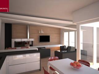 divisorio soggiorno/cucina: Sala da pranzo in stile  di Simone Fratta Architetto