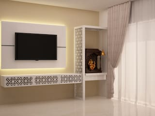 TV and Puja unit:  Living room by NVT Quality Build solution