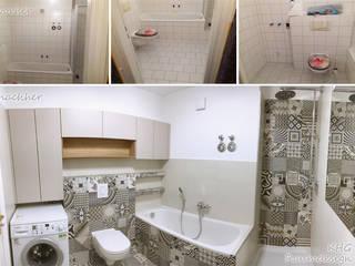KHG Raumdesign - Innenarchitektin in Berlin und Umland, mgr. ing. Architektur Katharina Hajduk-Gast 現代浴室設計點子、靈感&圖片 磁磚 Beige