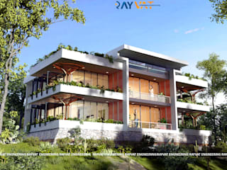 Front Elevation View:  Country house by Rayvat Engineering