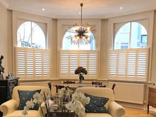 A Luxurious Addition to Notting Hill Plantation Shutters Ltd Ruang Keluarga Klasik Kayu White