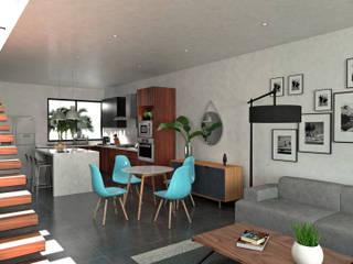 Sala, Comedor y Cocina.: Comedores de estilo moderno por Heftye Arquitectura