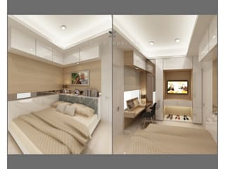Modern minimalist bedroom:  Kamar Tidur by Lenny indriani design