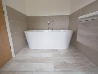 Coastal Rebuild: Pebbleshore Wood Effect Porcelain Quorn Stone Scandinavian style bathroom Tiles