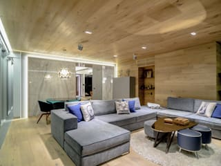 NIVEL TRES ARQUITECTURA Modern living room Wood Beige